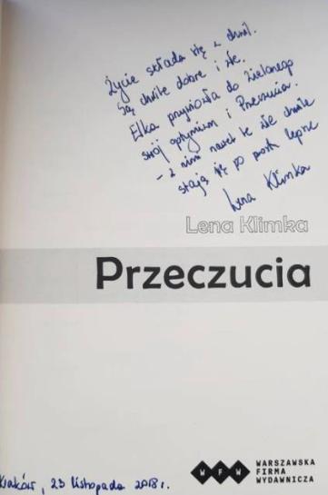 """Strona tytułowa książki pt. """"Przeczucia"""" z dedykacją Leny Klimki"""