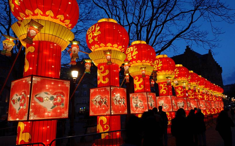 Chińskie lampiony z okazji Nowego Roku na Placu GrasMarkt