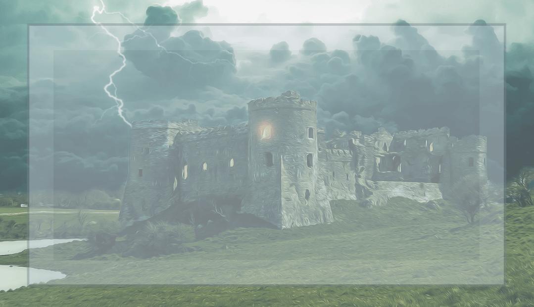 Zdjęcie zamku na tle burzowych chmur